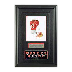 """Heritage Sports Art - Original art of the NFL 1996 San Francisco 49ers uniform - This beautifully framed piece features an original piece of watercolor artwork glass-framed in an attractive two inch wide black resin frame with a double mat. The outer dimensions of the framed piece are approximately 17"""" wide x 24.5"""" high, although the exact size will vary according to the size of the original piece of art. At the core of the framed piece is the actual piece of original artwork as painted by the artist on textured 100% rag, water-marked watercolor paper. In many cases the original artwork has handwritten notes in pencil from the artist. Simply put, this is beautiful, one-of-a-kind artwork. The outer mat is a rich textured black acid-free mat with a decorative inset white v-groove, while the inner mat is a complimentary colored acid-free mat reflecting one of the team's primary colors. The image of this framed piece shows the mat color that we use (Red). Beneath the artwork is a silver plate with black text describing the original artwork. The text for this piece will read: This original, one-of-a-kind watercolor painting of the 1996 San Francisco 49ers uniform is the original artwork that was used in the creation of this San Francisco 49ers uniform evolution print and tens of thousands of other San Francisco 49ers products that have been sold across North America. This original piece of art was painted by artist Nola McConnan for Maple Leaf Productions Ltd. Beneath the silver plate is a 3"""" x 9"""" reproduction of a well known, best-selling print that celebrates the history of the team. The print beautifully illustrates the chronological evolution of the team's uniform and shows you how the original art was used in the creation of this print. If you look closely, you will see that the print features the actual artwork being offered for sale. The piece is framed with an extremely high quality framing glass. We have used this glass style for many years with excellent result"""