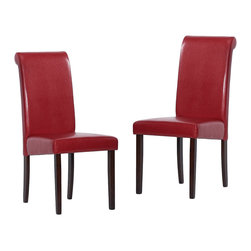 Warehouse of Tiffany - Warehouse of Tiffany Red Dining Chairs (Set of 2) - Elegance meets comfort in these chairs from Warehouse of Tiffany. The beautiful red leather upholstery and light cappuccino rubber wood legs add a modern look to any decor.