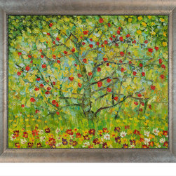 "overstockArt.com - Klimt - The Apple Tree with Silver Scoop with Swirl Lip - Silver Frame with Cham - Hand painted oil reproduction of a famous Klimt painting, The Apple Tree. Today it has been carefully recreated detail-by-detail, color-by-color to near perfection. Gustav Klimt (1862-1918) was one of the most innovative and controversial artists of the early twentieth century. Influenced by European avant-garde movements represented in the annual Secession exhibitions, Klimt's mature style combines richly decorative surface patterning with complex symbolism and allegory, often with overtly erotic content. This work of art has the same emotions and beauty as the original. Why not grace your home with this reproduced masterpiece? It is sure to bring many admirers! Frame Description: Studio Blonde Wood Frame Framed painting size (not including frame): Classic 20"" X 24"" . Framed Oil reproduction of an original painting by Gustav Klimt"