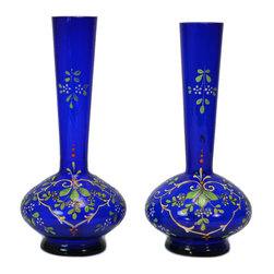 Lavish Shoestring - Consigned 2 Blue Glass Vases w/ Painted Floral Decoration, Continental European, - This is a vintage one-of-a-kind item.