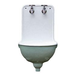 Consigned Cast Iron Antique Aqua Porcelain French Lavabo Wall Mount Bath Sink - Cast Iron Antique Aqua & White Porcelain French Lavabo Rounded Wall Mount Bath Sink w/New Faucet
