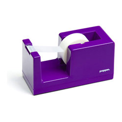 Poppin - Tape Dispenser, Purple - Let's dispense with formalities. You have trouble staying organized and your desk suffers from the style blahs. But this tape dispenser in your choice of eye-popping colors is bound to fix that. It features a weighted core, includes a free role of tape and coordinates with other desk accessories in the same line.