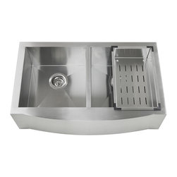 GOLDEN VANTAGE - GV 33Inch Stainless Steel Handmade Kitchen Sink Farmhouse Apron W/Rinsing Basket - Our affordable handmade stainless steel kitchen sink offer the most improved quality that make us a good choice for any environment. With durability, bigger bowl capacity and also easy to take care of, because the metal imparts a rich glow and adds corrosion resistance it will never get rusted, we use T-304 stainless steel and heavy duty sound deadening pads on all of our GV sinks.
