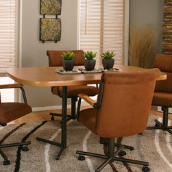 Cramco - Cramco Landon Oval Laminate Top Dining Table - Sunset Oak/Espresso Dark Brown - - Shop for Dining Tables from Hayneedle.com! A welcoming oval shape and casual sunset oak laminate top make the Cramco Landon Oval Laminate Top Dining Table - Sunset Oak/Espresso perfect for your eat-in kitchen or laid back dining room. This durable table features welded metal legs in an electrostatic powder-coated baked-on espresso finish. Its top is thermally fused and mar-resistant. Seats four people comfortably.About CramcoBased in Philadelphia Pennsylvania Cramco provides an expansive selection of dining and dinette sets from traditional to contemporary. Quality materials including wood glass marble and laminate are used to create designs you'll love.