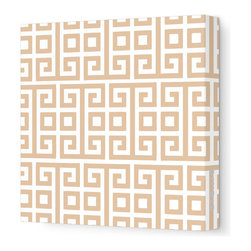 "Avalisa - Pattern - Squares Stretched Wall Art, 28"" x 28"", Light Brown -"