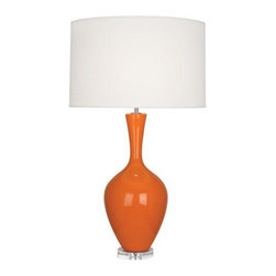 "Robert Abbey Lighting - Robert Abbey Audrey Table Lamp in Pumpkin - • Bulb Type: A • Switch: Hi-Lo Dimming • Pumpkin Glazed Ceramic • Lucite Base • Fondine Fabric Shade*California, Oregon & Washington State Only: Surcharge of $25.00 shows as ""Drop Ship Fee"" on checkout page."