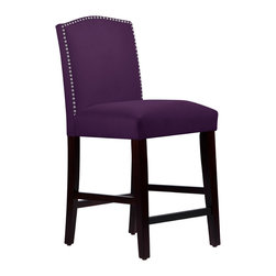None - Made to Order Purple Nail Head Arched Counter Stool - This elegantly arched counter stool features a meticulous individual nail button detail. Upholstered in luxurious velvet fabric and delicately handcrafted in plush foam padding,this gorgeous stool looks amazing in your kitchen,dining room,or bar.