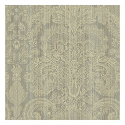 Fairwinds Studio - Neutral Lace Damask Wallpaper - Perfect for your dining or living room, this elegant wallpaper references the timeless look of lace on damask. The neutral palette is just right for casting your antiques in a modern light or making your modern pieces pop. This washable wallpaper peels right off when you're ready to move on--whether you're changing your decor or renting your home. Made in the USA.