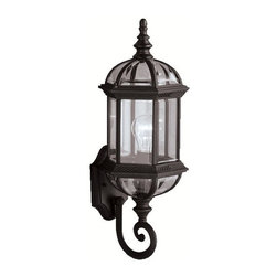 BUILDER - BUILDER New Street Transitional Outdoor Wall Sconce X-KB6379 - Traditional details including a beautiful finial and elegant scrollwork are complimented by a clean Painted Black finish on this Kichler Lighting outdoor wall sconce. From the New Street Collection, it also features clear beveled glass panels that pull the look together. U.L. listed for wet locations.