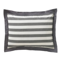 "DwellStudio - DwellStudio Graphic Stripe Ink Standard Pillow Sham Set - The Graphic Stripe standard shams by DwellStudio encompass comfort and contemporary style. Thick ink gray and crisp white stripes form the classic design of these sophisticated pillow shams. 20"" x 26""; 2"" flange; 300-thread-count, yard-dyed cotton sateen; Machine wash, tumble dry low; Made in India; Reverse to same hand-painted pattern; Inserts not included"