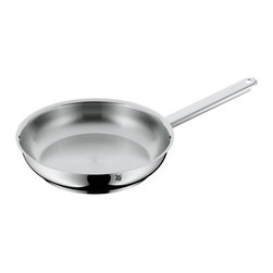 "WMF - Premium One Frying Pan, Stainless Steel, 9.5"" - Premium One cookware series, designed by Peter Ramminger, offers the unique Cool+ handle technology with a world-wide patent pending design, effectively reducing heat conduction between the pan and the handles. This cookware, with its top of the line workmanship, excellent design, and first class innovation meets the Highest demands of a modern kitchen. The practical, non-insertable lid has a built-in vent for controlling steam, and the side of each pot is designed with a pouring rim. The bright red silicone rings on the pan and lid handle joints serve as visual indicators for the Cool+ handle technology, while adding aesthetically appealing accents. Made in Germany; dishwasher safe."