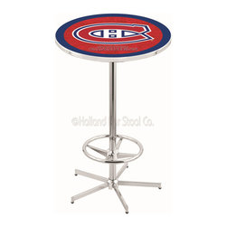 Holland Bar Stool - Holland Bar Stool L216 - 42 Inch Chrome Montreal Canadiens Pub Table - L216 - 42 Inch Chrome Montreal Canadiens Pub Table  belongs to NHL Collection by Holland Bar Stool Made for the ultimate sports fan, impress your buddies with this knockout from Holland Bar Stool. This L216 Montreal Canadiens table with retro inspried base provides a quality piece to for your Man Cave. You can't find a higher quality logo table on the market. The plating grade steel used to build the frame ensures it will withstand the abuse of the rowdiest of friends for years to come. The structure is triple chrome plated to ensure a rich, sleek, long lasting finish. If you're finishing your bar or game room, do it right with a table from Holland Bar Stool.  Pub Table (1)