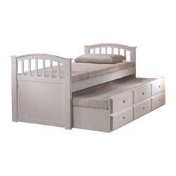 "ACMACM09145 - White Finish Wood Twin Bed with Pull Out Trundle Bed with Storage Drawers - White finish wood twin bed with pull out trundle bed with storage drawers. This set features a twin bed on top with a twin bed pull out trundle with 3 storage drawers underneath. Measures 79"" x 42"" x 39""H approx. Some assembly required."