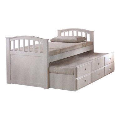 """Acme - White Finish Wood Twin Bed with Pull Out Trundle Bed with Storage Drawers - White finish wood twin bed with pull out trundle bed with storage drawers. This set features a twin bed on top with a twin bed pull out trundle with 3 storage drawers underneath. Measures 79"""" x 42"""" x 39""""H approx. Some assembly required."""