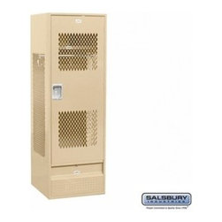 Salsbury Industries - Standard Gear Metal Locker - Ventilated Door - 6 Feet High - 24 Inches Deep - Standard Gear Metal Locker - Ventilated Door - 6 Feet High - 24 Inches Deep - Tan - Assembled