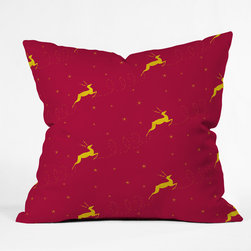 DENY Designs - DENY Designs Jacqueline Maldonado Reindeer Stars Throw Pillow - Wanna transform a serious room into a fun, inviting space? Looking to complete a room full of solids with a unique print? Need to add a pop of color to your dull, lackluster space? Accomplish all of the above with one simple, yet powerful home accessory we like to call the DENY Throw Pillow! Available in four sizes, our throw pillow is made from a medium weight woven polyester with a hidden zipper and removable bun insert.