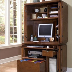 """Home Styles - Arts and Crafts Armoire - Features: -Keyboard tray space with ball bearing drawer glides that fully extend.-Accommodates printer shelf, CPU compartment.-Hutch features three wire management holes, fixed shelf, two small slotted pigeon hole organizers.-Slot letter organizer that can be darned in any direction to fit your office needs.-Includes file drawer that accommodates letter or legal size files.-Hardwoods and veneer construction.-Desk Type: Computer desk.-Powder Coated Finish: No.-Gloss Finish: No.-UV Finish: No.-Top Material: Wood.-Base Material: Wood.-Number of Items Included: 1.-Pieces Included: Armoire.-Distressed: No.-Collection: Arts and Crafts.-Keyboard Tray: Yes.-Drawers Included: Yes.-Chair Included: No.-Commercial Use: No.-Product Care: Clean with damp cloth.-Swatch Available: No.-Recycled Content: No.Specifications: -FSC Certified: No.-CARB Compliant: Yes.-ISTA 3A Certified: Yes.Dimensions: -Overall Height - Top to Bottom: 70.25"""".-Overall Width - Side to Side: 37.75"""".-Overall Depth - Front to Back: 23.75"""".-Cabinet: Yes.-Drawer: Yes.-Shelving: Yes.-Hutch: No.-Overall Product Weight: 146 lbs.Assembly: -Assembly required.-Assembly Required: Yes."""