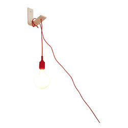 Gagan Design - Angle Lamp. Modern Handcrafted Wall Sconce - Aptly named, the Angle wall mounted lamp is clean and modern, contrasting the natural grain of birch with the boldness of a red cord and bulb base. Carefully hand crafted, this versatile wall sconce lamp can be adjusted to your whims by simply sliding and securing the 15 foot fabric cord.