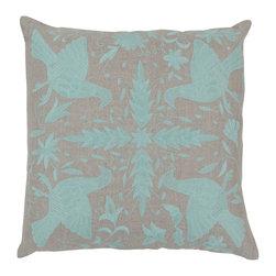 "Surya - Surya 18 x 18 Decorative Pillow, Oatmeal and Robin's Egg Blue (LD019-1818P) - Surya LD019-1818P 18"" x 18"" Decorative Pillow, Oatmeal and Robin's Egg Blue"
