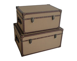 Screen Gems - Valencia Rectangle Canvas Trunks - Add a pair of vintage-style trunks to your living room, den or bedroom for some stylish storage options. Whether you stack them or use them in separate rooms the charming design will keep your linens, books or magazines super organized and looking chic. It's a decor investment that will serve you well for years to come.
