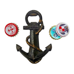 EttansPalace - Anchors Aweigh Cast Iron Bottle Opener - Set sail with a sea-worthy antique replica anchor holding steady to open bottles on land or at sea! Hand-crafted exclusively for using the time-honored sand cast method, this antique replica cast iron bottle opener is hand-painted in a vintage maritime hue that makes it both fun and functional. Get underway, the perfect gift for your US Navy sailor!