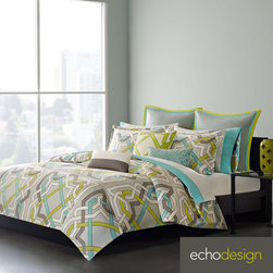 Echo - Echo Status 3-piece Duvet Cover Set - This vibrantly colored Echo Status duvet cover features an unique design of intertwining lines and shapes to bring a fun brilliance to the bedroom. The duvet cover includes at least one matching sham.