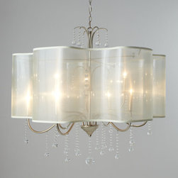"""John-Richard Collection - Quatrefoil Shaded Chandelier - John-Richard CollectionQuatrefoil Shaded ChandelierDetailsChandelier features a veiled quatrefoil drum shade and glass ball pendants.Handcrafted of iron metal and glass.Antiqued Parisian-silver finish.Sheer silk shade.Ceiling canopy included.Direct wire; professional installation required.Uses nine 60-watt bulbs.40""""W x 40""""D x 36""""T with 10'L chain.Imported.Boxed weight approximately 52 lbs. Please note that this item may require additional delivery and processing charges.Designer About the John-Richard CollectionFounded in 1980 in Greenwood Mississippi the John-Richard Collection is known for a strong design staff that travels the world for inspiration. Channeling cultural and historical influences the company creates distinctive artisan-crafted furniture lighting wall art mirrors and decorative accessories that make a lasting impression. What's more an eye for future trends in luxury home furnishing sets the John-Richard Collection apart. They skillfully blend the best of what is new in home fashion with the great designs of the past resulting in updated designs that fit perfectly with an array of styles."""
