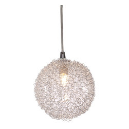 Zuo - Cassius Aluminum Pendant Light - The Cassius Aluminum Pendant Light features a small five inch globe made of aluminum and glass.  Suspended from the ceiling with a chrome rod, this pendant light is sure to be an eye-catcher in any space.  The Cassius Aluminum Pendant Light can hang solo or be clustered for a more dramatic effect.  Feature this pendant light in your kitchen, dining area, or even as bedside lighting.  The bulb is included with the pendant light.