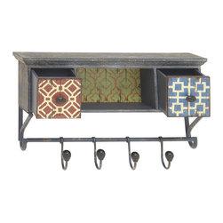 Benzara - Contemporary Inspired Style Wood Shelf Hook Home Accent Decor - Description: