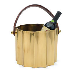 Go Home - Scalloped Chiller with Leather Handle - Scalloped Chiller crafted from polished brass in a curving scalloped circle.A leather handle continues the design influences of art decor making it easy to ferry from one surface to another.