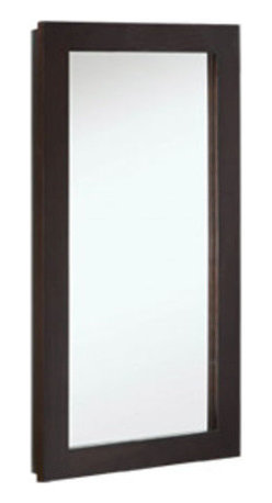 "DHI-Corp - Ventura Single Door Medicine Cabinet Mirror, 16"" by 30"", Espresso Finish - The Design House 541326 Ventura Espresso Single Door Medicine Cabinet Mirror features an elegant espresso finish. This product meshes modern aesthetics with European sensibilities and has a thick espresso border with a single cabinet design. With a solid wood frame and adjustable shelves, this mirror measures 16-inches by 30-inches by 5-inches. With a modern design, this mirror enriches your home with its stately dark finish and clean lines. This product is perfect for remodeling your bathroom and matches painted cabinets and granite counter tops. The cabinet door glides open revealing (2) adjustable shelves, sturdy enough to hold shampoo, medicine and makeup. Simply move the shelves to accommodate larger or smaller items. This mirror will not chip or stain in steamy bathrooms. This product is CARB compliant, which means it adheres to the toughest production standards in the world for formaldehyde emissions (in wood composite paneling). The cabinet door does not whine or creak when opened and withstands years of repeated use. Use this mirror for shaving or applying makeup in the morning. The Design House 541326 Ventura Single Door Medicine Cabinet Mirror has a 1-year limited warranty that protects against defects in materials and workmanship. Design House offers products in multiple home decor categories including lighting, ceiling fans, hardware and plumbing products. With years of hands-on experience, Design House understands every aspect of the home decor industry, and devotes itself to providing quality products across the home decor spectrum. Providing value to their customers, Design House uses industry leading merchandising solutions and innovative programs. Design House is committed to providing high quality products for your home improvement projects."