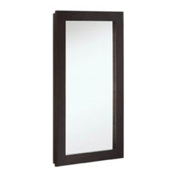 """DHI-Corp - Ventura Single Door Medicine Cabinet Mirror, 16"""" by 30"""", Espresso Finish - The Design House 541326 Ventura Espresso Single Door Medicine Cabinet Mirror features an elegant espresso finish. This product meshes modern aesthetics with European sensibilities and has a thick espresso border with a single cabinet design. With a solid wood frame and adjustable shelves, this mirror measures 16-inches by 30-inches by 5-inches. With a modern design, this mirror enriches your home with its stately dark finish and clean lines. This product is perfect for remodeling your bathroom and matches painted cabinets and granite counter tops. The cabinet door glides open revealing (2) adjustable shelves, sturdy enough to hold shampoo, medicine and makeup. Simply move the shelves to accommodate larger or smaller items. This mirror will not chip or stain in steamy bathrooms. This product is CARB compliant, which means it adheres to the toughest production standards in the world for formaldehyde emissions (in wood composite paneling). The cabinet door does not whine or creak when opened and withstands years of repeated use. Use this mirror for shaving or applying makeup in the morning. The Design House 541326 Ventura Single Door Medicine Cabinet Mirror has a 1-year limited warranty that protects against defects in materials and workmanship. Design House offers products in multiple home decor categories including lighting, ceiling fans, hardware and plumbing products. With years of hands-on experience, Design House understands every aspect of the home decor industry, and devotes itself to providing quality products across the home decor spectrum. Providing value to their customers, Design House uses industry leading merchandising solutions and innovative programs. Design House is committed to providing high quality products for your home improvement projects."""