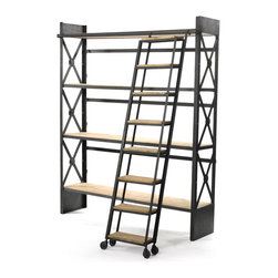 Industrial Bookcase with Library Ladder - Even an industrial loft space becomes a luxurious library with this oversized bookshelf. The cross-barred metal sides and wood shelves coordinate with a matching rolling ladder perfect for living out your library dreams.