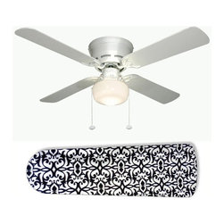 """Paris Elegance 42"""" Ceiling Fan and Lamp - 42-inch 4-blade ceiling fan with a dome lamp kit that comes with custom blades. It has a white flushmount fan base. It has an energy efficient 3-speed reversible airflow motor for year long comfort. It comes with complete installation/assembly instructions. The blades can be cleaned with a damp cloth. It is made with eco-friendly/non-toxic products. This is brand new and shipped in the original box. This is not a licensed product, but is made with fully licensed products. Note: Fan comes with custom blades only."""