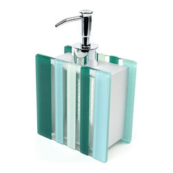 Gedy - Unique Soap Dispenser - This unique decorative soap dispenser is made of glass in a green/light blue finish and cromal. Made and designed by high-end Italian brand Gedy.