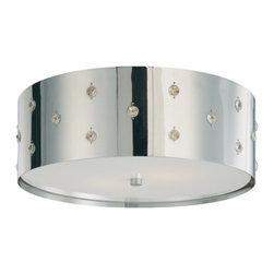 George Kovacs - Bling Bling 2-Light Flush Mount - This light fixture has enough bling to light up any room in your home. The perforated steel drum is accented by individual crystals that reflect light and shimmer throughout your space.