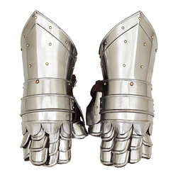 ecWorld - Antique Replica Medieval Knight Metal Gauntlets - These beautiful high-quality full-sized metal Medieval Knight Gauntlets antique reproduction are made of solid metal and are handcrafted and hand-assembled using quality metals to recreate a high quality authentic-looking antique gauntlets. Uniquely made with solid metal and hand-finished with real leather inserts.