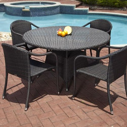 Source Outdoor - Como Outdoor Bistro Set - Includes 32 in. round dining table & 4 dining chairs. Color/Fnish: Espresso. Material: High Density Polyethylene Wicker. No Assembly required. Frame made with high quality powder coated aluminum to prevent rust and corrosion. Weave is made of High Density Polyethylene, which ensures the long lasting beauty of the furniture. Built to Hospitality grade and meant to be outside in the elements 24/7 . It is recommended that furniture not be stored upside down