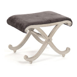 Kathy Kuo Home - Chalice French Country X Base Chocolate Velvet Vanity Foot Stool - A French Country seat combines versatility and beauty as an ottoman, foot stool or small bench. An elegant chalice-shaped base, hewn from birch and finished in weathered taupe supports a chocolate-colored, velvet cushion. Stylish as an ottoman, the size and comfort create a small chair for a dressing room or bedroom.