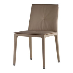 Poltrona Frau - Poltrona Frau Fitzgerald Dining Chair - The Fitzgerald Dining chair is available with a low or high backrest.  The chair as a rigid polyurethane structure strengthened by steel inserts.  Padding is polyurethane foam and polyester wadding and strengthened by regenerated leather.  The backrest edging is decorated with an aluminum profile in a galvanic gunmetal grey finish.  The back is decorated with a double row of vertical stitching and the Poltrona Frau brand marketing logo.  Upholstery in Pelle Frau leather.  A hand-stitched X enhances the backrest and seat.  The delicate 'X' motif is hand-sewn with contrasting stitching.  Feet have a zinc alloy finish with gunmetal grey galvanic treatment and black plastic caps.  Price includes delivery to the USA.  Manufactured by Poltrona Frau.  Design in 2005.