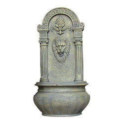 Sunnydaze Decor - Leo Outdoor Solar On Demand Wall Fountain, French Limestone - Here's something to roar about: The old-world look and feel of limestone from a high-tech resin, all created to deliver incredible detail and impressive durability. Mount this noble fountain in your favorite outdoor space as a beautiful, tranquil focal point.
