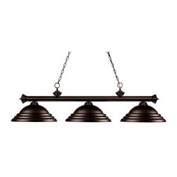 Three Light Bronze Bronze Shade Island Light - Elegant and traditional best describes this beautiful three light fixture. Finished in oil rubbed bronze and paired with bronze metal shades, this three light fixture would be equally at home in the game room, or anywhere else in the house needing a touch of timeless charm. 72 inches of chain per side is included to ensure a perfect hanging height.