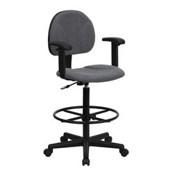 Gray Fabric Ergonomic Drafting Stool