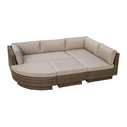 Great Deal Furniture - Brenan Outdoor 4pc Sofa Sectional - There is nothing like enjoying the warm outdoors while having the comforts of the Brenan 4pc sofa sectional. Constructed from multi-brown wicker, a durable material that is fitting for the outdoors, this set includes two (2) large loveseats and two (2) uniquely shaped ottomans that can be rearranged according to your preference. This piece includes matching plush cushions that provide a comfortable experience for your guests.