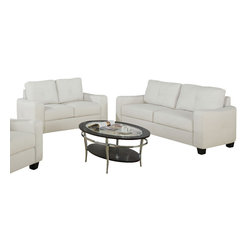 Monarch Specialties - Monarch Specialties I 8703IV 2 Piece White Bonded Leather Living Room Set - This ivory bonded leather sofa will make a wonderful addition to your living room or den. Its contemporary shape enhances any room with big, plush back and box seat cushions. A stitched design enhances the back cushions, as well as the outsides of the square track arms. The slightly flared design creates an inviting feel, and tapered wooden block feet support this piece.