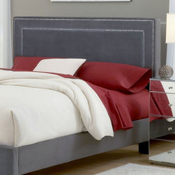 """Hillsdale - Amber Upholstered Headboard - The Amber headboard is fashionable, comfortable and luxurious. An impressive square fabric headboard is complimented by nail-head trim, both on the outer edge and the center. Features: -Upholstered in 100% Polyester velvet like fabric.-Frame Material: Pinewood.-Distressed: No.-Drill Holes for Frame: Yes.Dimensions: -Overall Height - Top to Bottom (Size: King, Queen): 50.25"""".-Overall Width - Side to Side (Size: Queen): 65"""".-Overall Width - Side to Side (Size: King): 80.25"""".-Overall Depth - Front to Back (Size: King, Queen): 4.25"""".Assembly: -Assembly Required: Yes."""