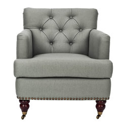 Safavieh - Safavieh Colin Tufted Club Chair X-D2128DUH - Care Instruction: To prevent overall soiling, frequent vacuuming or light brushing is recommended. Cushions and pillows should be turned on a weekly basis. Down-filled cushions should be brushed rather than vacuumed. Spot clean, using a mild water-free solvent or dry cleaning product. Only a professional cleaner should undertake a complete overall cleaning. The use of steam or water-based cleaners may cause excessive shrinking or staining.