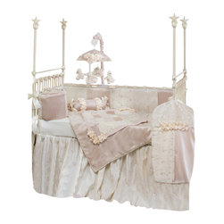 Glenna Jean - Ribbons and Roses Baby Crib Bedding Set - The perfect nursery for your little princess! The Ribbons and Roses Baby Crib Bedding Set by Glenna Jean adds a magnificent touch to your little girl's room. Beautiful velvet fabrics, embroidered taffetas, and rich ribbon are hand patched with ribbon accents and trimmed with a finely looped ribbon cord. Floor length crinkle crib skirt adds to the luxurious look. A classic design, Ribbons & Roses will make baby's space sparkle, and become a treasured family heirloom to remind you of this joyous time.