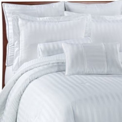 Wamsutta - Damask Stripe Comforter Set in White - Refined detailing including a classic damask stripe reversing to a pinstripe back and a lustrous silk-like feel combine to create elegant bedding with an inviting look and appealing texture. It will transform the look of your bedroom decor.