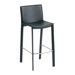 Nuevo Living - Bridget Black Leather Counter Stool by Nuevo - The Bridget modern stool in black leather adds modern elegance to any space. This contemporary counter stool can make its home at your kitchen counter, a  bar table, or anywhere else stylish seating is needed. Available in your choice of leather color complemented by a high polish stainless steel footrest, this piece will definitely complement any home decor. Your guests and other visitors are sure to be impressed with the sleek, modern style of this chic bar stool. With its contemporary design and modern style, this Bridget modern stool will surely be an enchanting home addition for years to come.